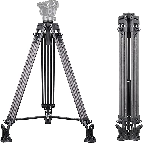 INNOREL VT80C - Trípode profesional para videocámaras (150 cm, fibra de carbono,...