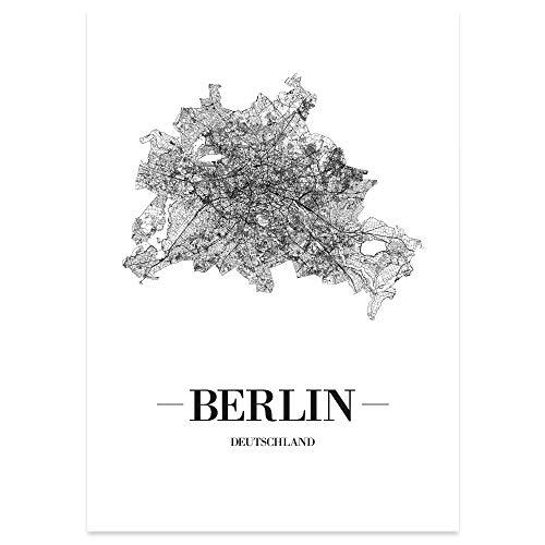 JUNIWORDS Stadtposter, Berlin, Wähle eine Größe, 21 x 30 cm, Poster, Schrift A, Weiß
