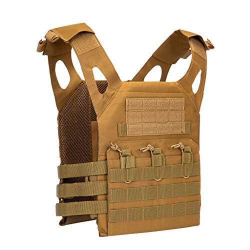 Jipemtra Tactical Airsoft Vest for Kids Outdoor Molle Breathable JPC Vest Game Protective Vest Adjustable Modular Chest Set Vest CS Field Vest Training Vest (Tan #1)