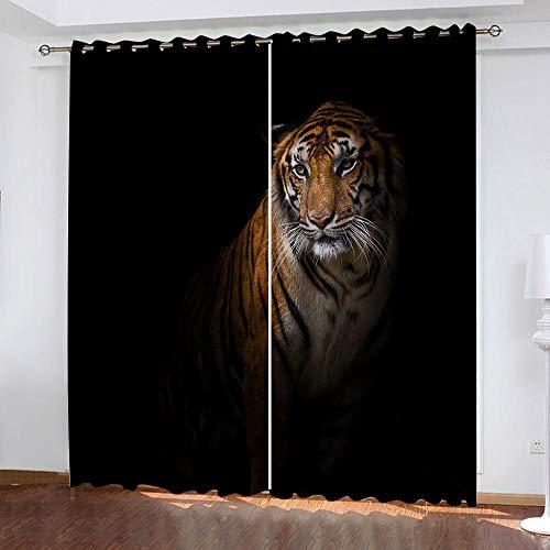 MPHWCL Cortinas Salon Modernas 2 Piezas Cortinas Opacas Tigre Animal Fondo Negro Efecto 3D, Protector Solar, Opacas, térmicas, con Ojales 280 x 245 cm para Habitación Niños Niñas Salón
