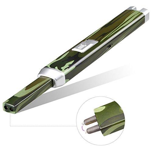 Qimaoo Qimaoo Kerze Feuerzeug Arc Elektro Feuerzeug Lichtbogen USB Kabel Perfekt für das Haus, BBQ, Camping, RV Geschenkverpackung Schwarz Silber Grün (Grün) Grün