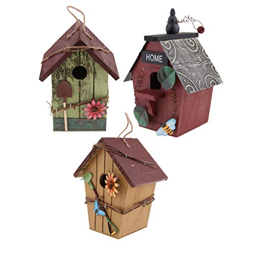 joyMerit Set of 3 Natural Birdhouse Wooden Handcrafted Hut...