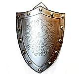 """Escultura coleccionable con placa colgante de escudo de pared de águila y león de 27 """"- Adorno de metal plateado vintage Cresta de sable de hierro - Decoración de cresta de pared heráldica, Águila"""
