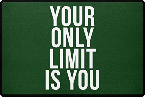 PlimPlom Your Only Limit IS You Felpudo–Felpudo con Mensaje para la casa o Puerta Exterior–Felpudo con diseño de Polipropileno con Base Antideslizante, Polipropileno, Verde