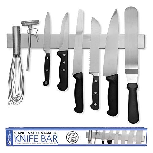 Modern Innovations 16 Inch Stainless Steel Double Sided Magnetic Knife Bar with Multipurpose Use as Wall Mount Knife Holder, Knife Rack, Kitchen Utensil Holder, Magnetic Tool Holder