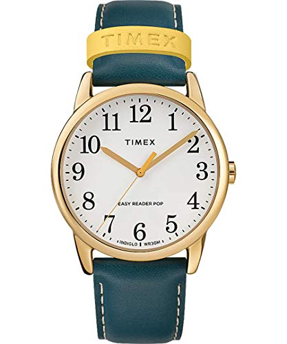 Timex TW2R99600 Weekender Color Pop White Easy Reader Dial Blue Leather Band 38 mm Watch