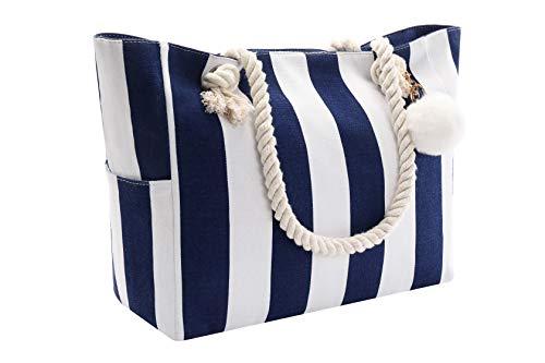 Strandtaschen Große XXL Familie mit Reißverschluss, Shopper Schultertasche Einkaufstasche Leinwand, Wasserdicht Tasche für Strand, Beach Bag Umhängetasche Badetasche Damen Herren, Blau Weißer Streifen