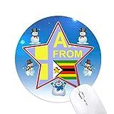 je suis du zimbabwe bonhomme de neige, tapis de souris série star mat