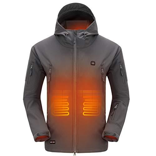 DEWBU Softshelljacke Beheizbare Jacke Softshell Winterjacke Heiz-Jacke mit Akku 7.4V und Ladegerät zum Outdoor Arbeiten Motorrad Schilaufen und Tägliches Tragen DB-12 2.0, Grau, XXL