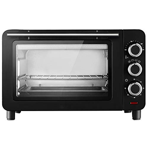 Toaster oven STBD-Mini Four ménager, capacité 15L, avec Lampe de Four et bac à laitier séparé, Banc de Cuisine, Petit ustensile de Cuisson pour Four électrique, Noir