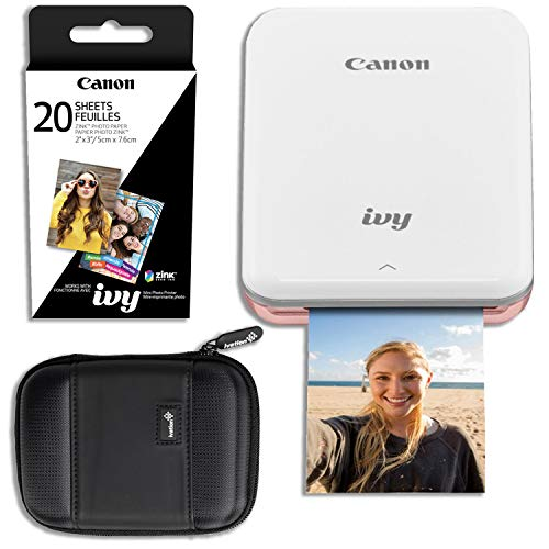 Canon Ivy Mini Wireless Photo Printer (Rose Gold) with 20 Prints and...