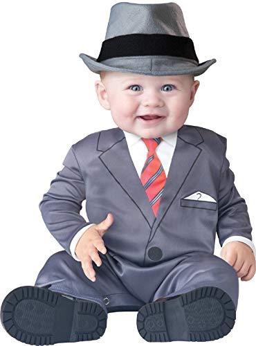Deluxe Baby Business Jungen 1920s Jahre Gangster Gatbsy Büchertag Halloween Charakter Kostüm Kleid Outfit - grau, 6-12 Months