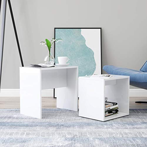 vidaXL Coffee Table Set Home Interior Living Room Furniture Accent Side Tea Couch Sofa Laptop Nesting Stand High Gloss White 48x30x45cm Chipboard