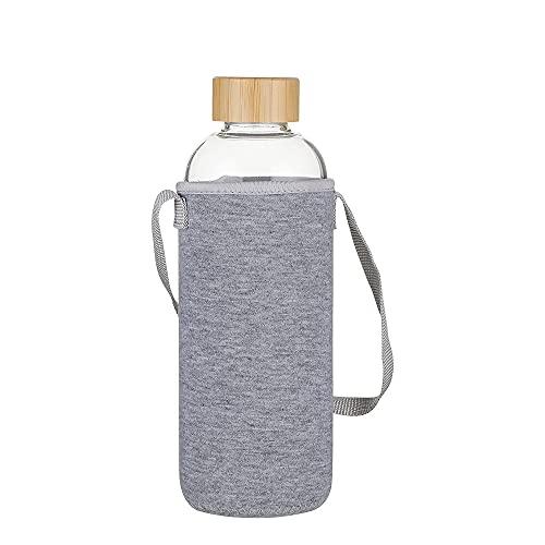 Gulujoy Botella Cristal 1 litro de Agua Reutilizable con Funda Neopreno y Tapa de Bambú sin Bpa 1000 ml
