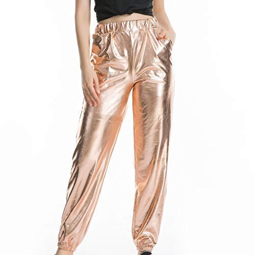 ღLILICATღ Mujeres Cintura Alta Color Sólido Charol Largos Pantalones Slim Fit Pantalones de Pierna Ancha Mujer Camiseta Arcón Envuelto con Estilo Metálico Cuello U Ropa de Rendimiento