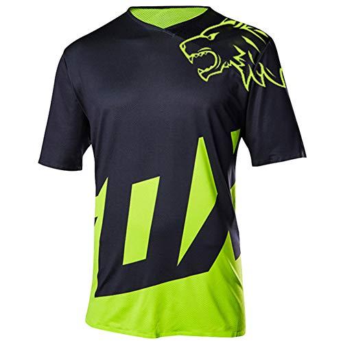 Wisdom Leaves Men's Short Sleeve Cycling Jersey Mountain Bike Shirt MTB Bike Jersey Moisture-Wicking T-Shirt Black Green