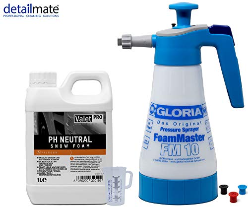 detailmate Vorwäsche Set: Gloria FM10 Schaumsprüher Foam Master 1L+ ValetPro pH neutral Snow Foam 1L + 50 ml Messbecher