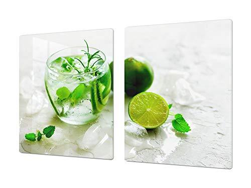 Cubre vitrocerámica para cerámicas de grandes dimensiones o tabla de cortar de cristal templado – UNA PIEZA (80 x 52 cm) o DOS PIEZAS (40 x 52 cm) Bebidas y Bebidas de la Serie DD11