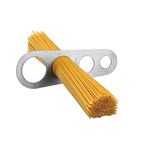 Dosaspaghetti in acciaio inox, per misurare la pasta lunga, utensile da cucina, per spaghetti, con 4 fori di misurazione (misura fino a una porzione per quattro adulti)