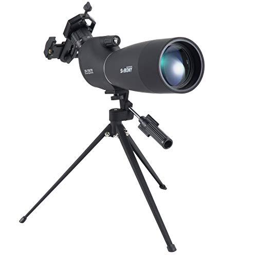 Svbony SV28 Longue-Vue, 25-75x70 Longue-Vue avec Trépied,HD BAK4 Prisme FMC Lens Longue-Vue avec Adaptateur Téléphonique pour Tir à la Cible, Tir à l'arc, Observation des Oiseaux, Lune