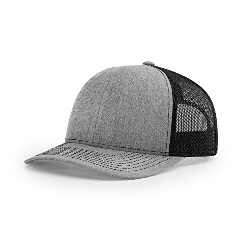 Richardson Unisex 112 Trucker Adjustable Snapback Baseball Cap, Split Heather Grey/Black, One Size Fits Most