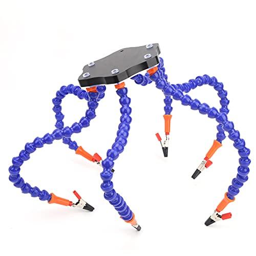 Banco de trabajo de brazo flexible, conjunto de mesa de soldadura con abrazadera de 6 brazos Soporte de soldadura Estación de soldadura flexible de 6 brazos para fabricación de joyas para