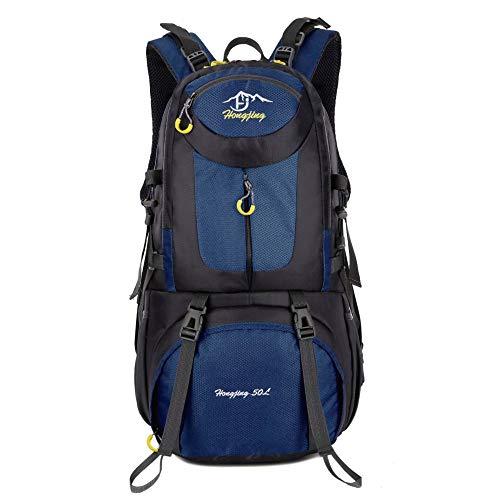 QXbecky Alpinisme sac à dos hommes et femmes en plein air voyage imperméable respirant porter grande capacité sport sac à dos de randonnée 40L 50L 60L bleu foncé 60x35x20cm