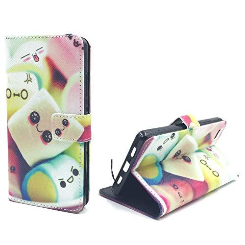 König Design Handyhülle Kompatibel mit Huawei P8 Lite Handytasche Schutzhülle Tasche Flip Case mit Kreditkartenfächern - Marshmallows