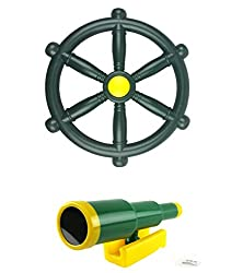 HIKS Green Pirate Climbing frame fun accessory bundle. Also available in Blue & Red Includes Telescope and 30 cm Pirate Wheel A fantastic set of fun accessories for climbing frames, dens, tree houses and any outdoor play structure. This item is Manuf...