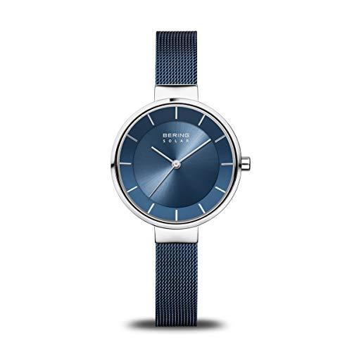 BERING Damen Analog Solar Uhr mit Edelstahl Armband 14631-307