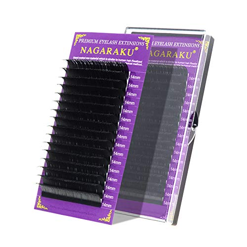 NAGARAKU Eyelash Extensions 16 Rows Matte Black 0.07mm D curl 11mm Russian Volume Classic Individual Eyelashes Silk Faux Mink Lashes Professional