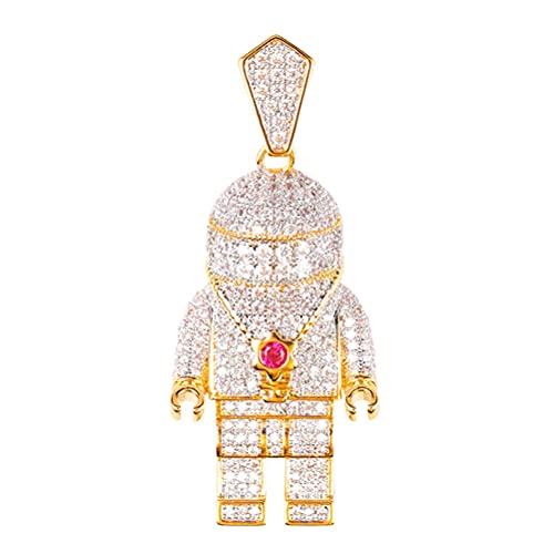 LYWER Astronauta Helado Astronaut SPACEMEMAN Full Diamond Pendant Street Hip Hop Necklace