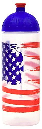 Trinkflasche von ISYbe - 0,7l - Ideal für Freizeit, Sport, Schule und Arbeitsplatz (Transparent Amerika Flagge)