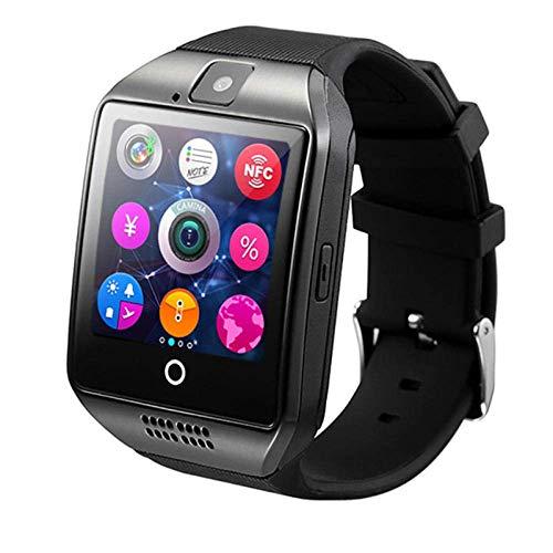GJNVBDZSF Reloj Inteligente, Reloj Inteligente Bluetooth para Hombres Q18 con cámara Sincronización SMS Smartwatch Soporte Tarjeta Sim TF Facebook Whatsapp Twitter