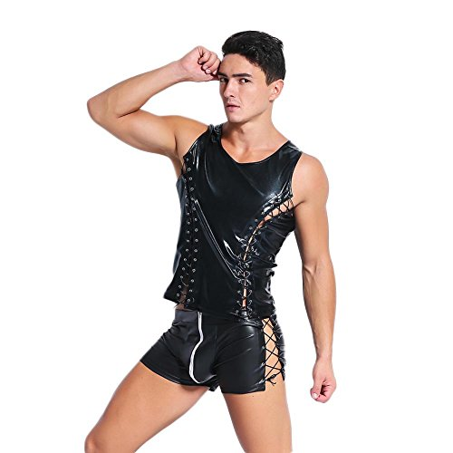Bodysuit Mannen Faux Lederen Elastische Vest T-Shirts+Boxer Shorts Tank Top Mouwloos Verstelbare Tie Band Onderhemd