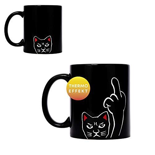 ANGRY CAT – STINKEKATZE I böse Katzen Tasse mit lustigem Spruch Angry Morning I Thermoeffekt Tasse heiß/kalt Zaubertasse Kaffeetasse Kaffeebecher mit wechseldem Motiv I aus Keramik Größe 340ml