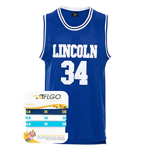 AFLGO Jesus Shuttlesworth #34 Lincoln High School Stitched Basketball Jersey (X-Large, Blue)