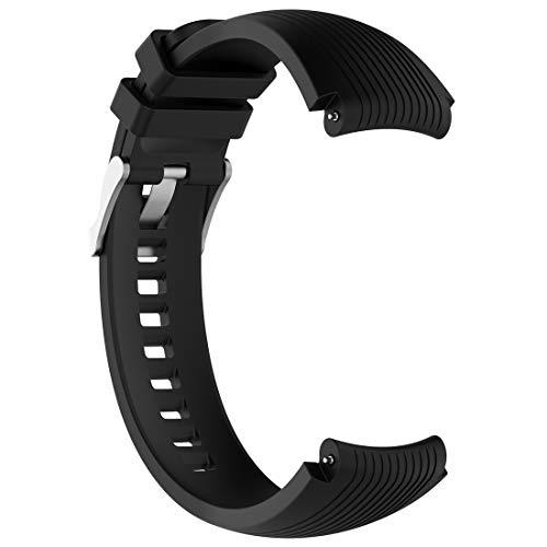 LOKEKE Correa de silicona de repuesto para Samsung Galaxy Watch (46 mm)/Samsung Gear S3 SM-R380 SM-R381 SM-R382 (silicona negra)