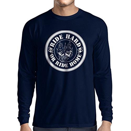 N4688L T-Shirt mit Langen Ärmeln Ride Hard! Biker Clothing (XX-Large Blau Mehrfarben)