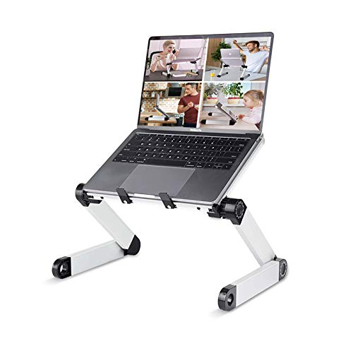 Adjustable Laptop Stand Table for Office, RAINBEAN Portable Lap Desk Stand Compatible Notebook Tablets MacBook,Foldable Lift Bracket Aluminum Ergonomics Design,Office or Home Desk Suitable for Ipad