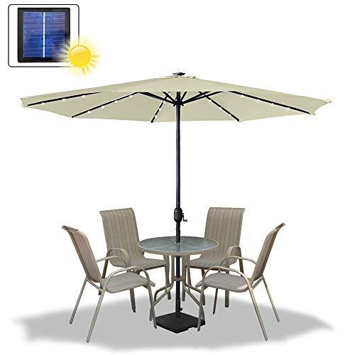 Asina 350cm Ombrellone da Giardino in Poliestere Protezione Solare UV con Manico da 38mm e 32 LEDs Ombrelloni per Balcone Patio attività all'aperto(Beige)