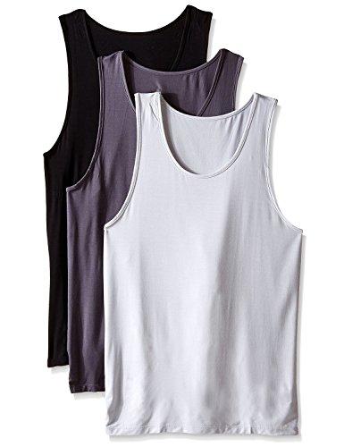 DAVID ARCHY Men's Bamboo Rayon Undershirts Crew Neck Tank Tops 3 Pack (M, Black/Charcoal/Light Gray)
