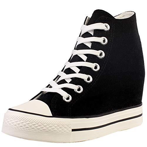 zpllsbratos Mujer Zapatos de Lona Cuñas Plataforma Zapatillas Altas Casuales Moda Botines(Negro,38)