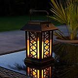 schwarze Solar Laterne mit LED Kerze und täuschend echt wirkenden Flacker-Effekt, von Festive Lights - 7