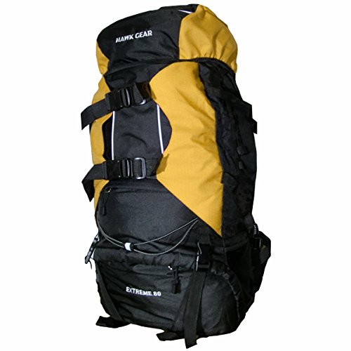 [HAWK GEAR(ホークギア)] バックパック 80L 大容量 防水 アウトドア 防災 災害 登山 旅行 (イエロー)