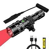 Linterna de luz roja, 1200 lúmenes linterna de caza roja 350 yardas, antorcha táctica LED de largo alcance con interruptor de presión, luz depredadora impermeable para caza de coyote, batería incluida