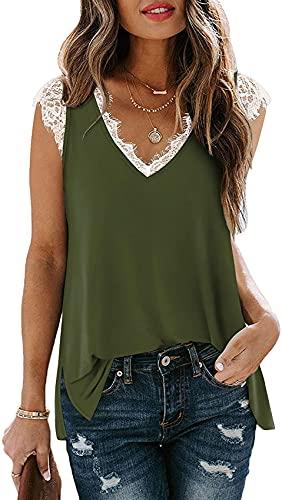 Camiseta Casual De Verano para Mujer Chaleco De Encaje con Cuello En V Tops Sueltos De Color SóLido