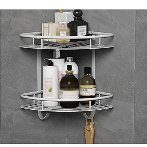 FOGUO Shower Basket, Triangle Shower Shelf, Corner Shelf, No Drilling Shower Shelf, Shower Shelf Caddy, Bathroom Shelf, Kitchen Organiser, Aluminium,2 Schicht,C