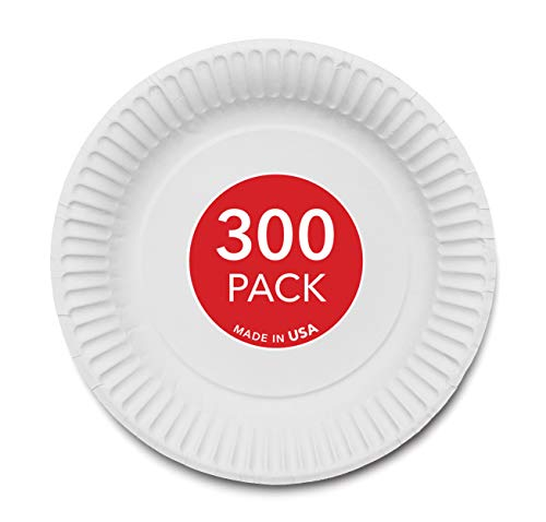 Stock Your Home 9-Inch Paper Plates Uncoated, Everyday Disposable Plates 9' Paper Plate Bulk, White, 300 Count