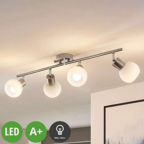 Lampenwelt LED Deckenleuchte 'Elaina' (Modern) in Alu aus Metall u.a. für Wohnzimmer & Esszimmer (4 flammig, E14, A+, inkl. Leuchtmittel) - Lampe, LED-Deckenlampe, Deckenlampe, Wohnzimmerlampe